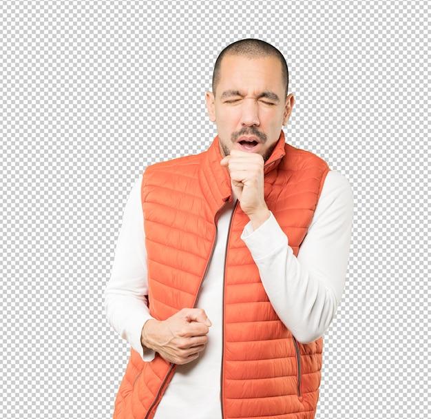 Jovem doente tossindo