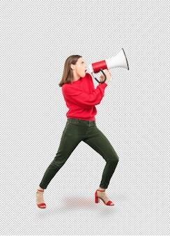 Jovem e linda mulher gritando com megafone