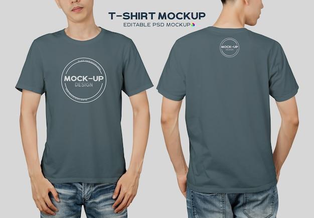 Jovem em modelo de maquete de t-shirt para seu projeto.