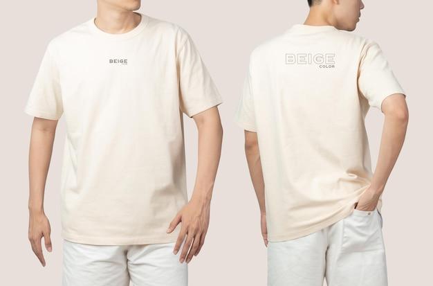 Jovem em psd de maquete de camiseta bege, modelo para seu projeto.