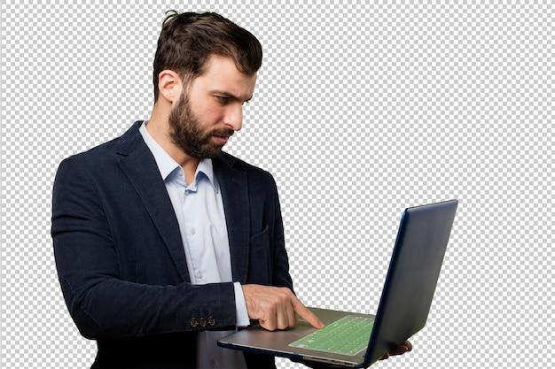 Jovem empresário com um laptop