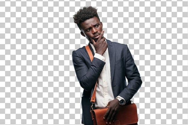 Jovem empresário negro com um olhar confuso e pensativo