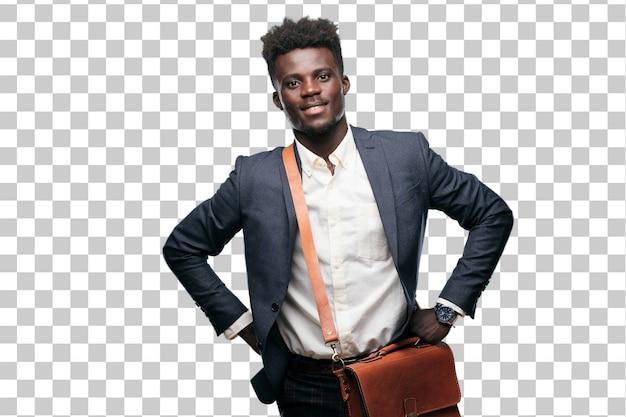 Jovem empresário negro com um olhar orgulhoso, satisfeito e feliz