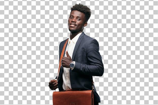 Jovem empresário negro com um olhar satisfeito, orgulhoso e feliz com polegares para cima