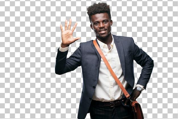 Jovem empresário negro sorrindo e olhando satisfeito e feliz
