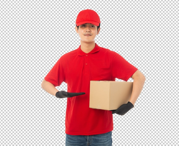 Jovem entregador segurando maquete de caixa de papelão
