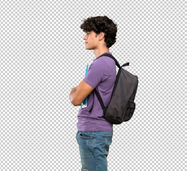 Jovem, estudante, homem, em, posição lateral