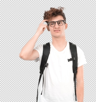 Jovem estudante intrigado posando