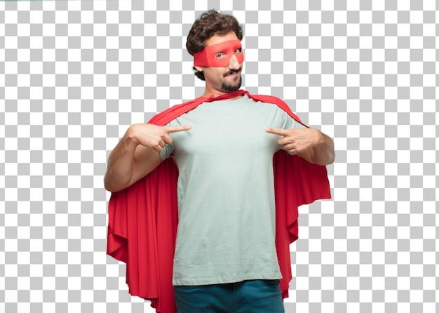 Jovem louco super herói homem apontando e mostrando o gesto
