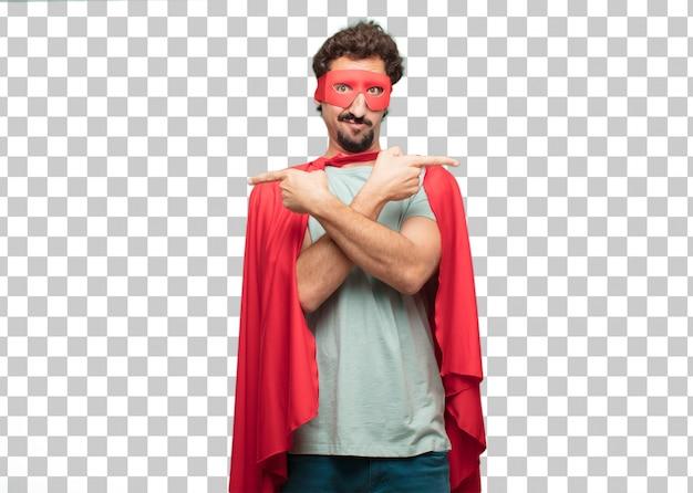 Jovem louco super herói homem confuso expressão