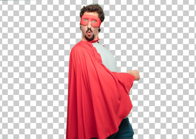Jovem louco super herói homem espantado ou chocado expressão