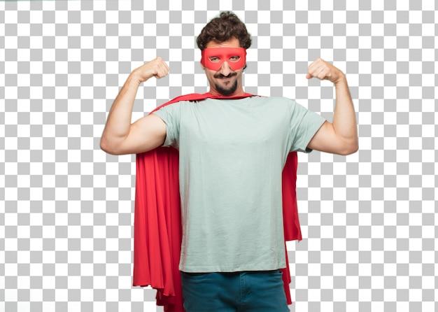 Jovem louco super herói homem forte sinal