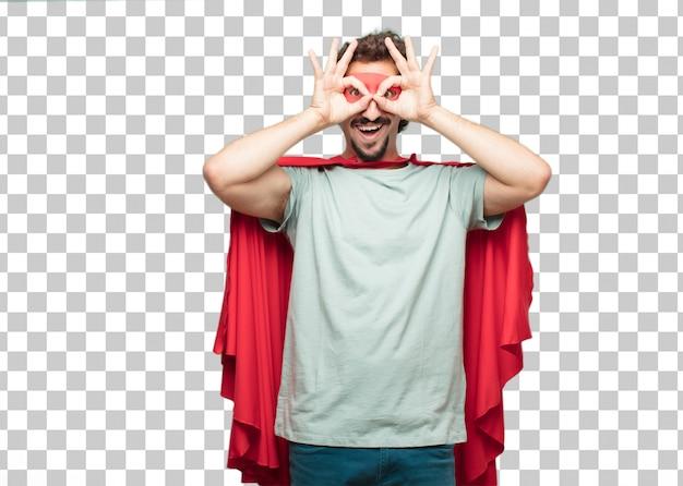 Jovem louco super herói homem olho mágico