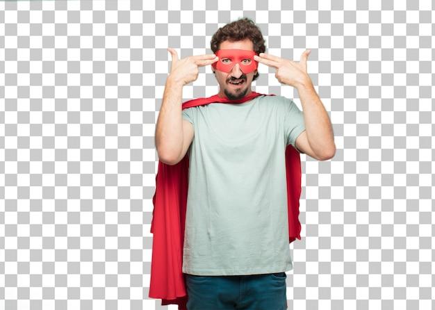 Jovem louco super herói homem sinal de suicídio