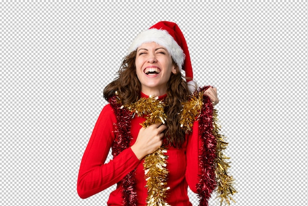 Jovem mulher com chapéu de natal