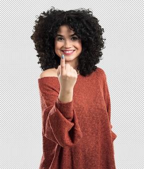 Jovem mulher fazendo gesto a vir