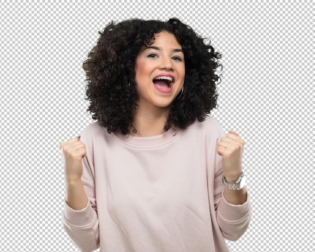 Jovem mulher fazendo gesto de vencedor