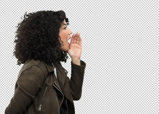 Jovem mulher gritando de lado