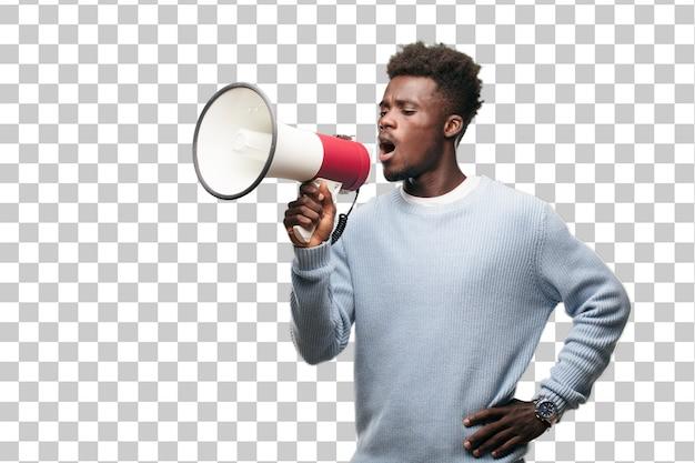 Jovem negro com um megafone