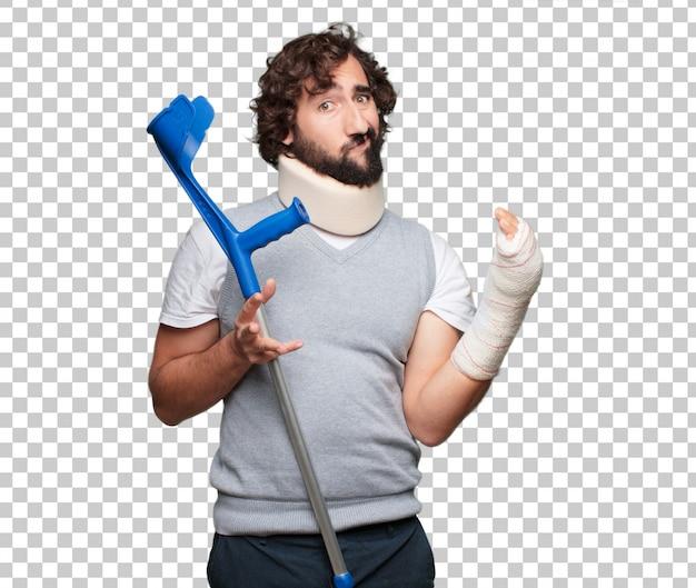 Jovem ossos quebrados. lesão e vítima de um conceito de acidente