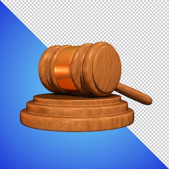 Judges hammer 3d rendering isolated