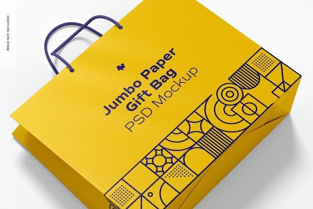 Jumbo sacola de papel para presente com maquete de alça de corda, close-up