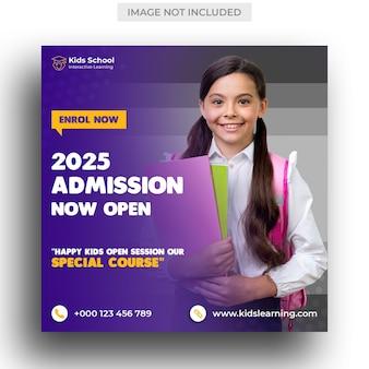 Kids admissão à educação escolar post na mídia social