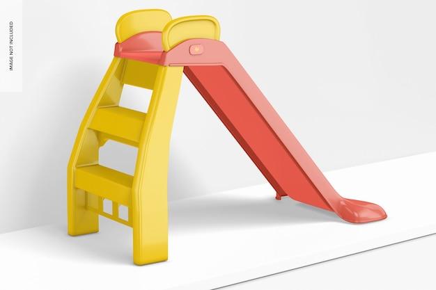 Kids slide mockup, vista esquerda