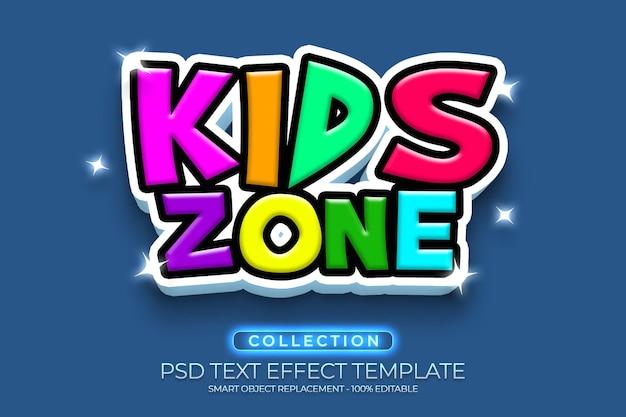 Kids zone fullcolor efeito de texto 3d personalizado com fundo colorido