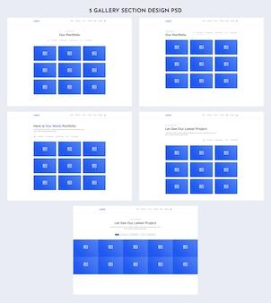 Kit de interface do usuário da web da seção galeria