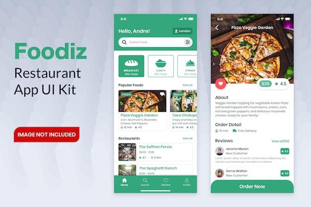 Kit de interface do usuário do aplicativo foodiz restaurant
