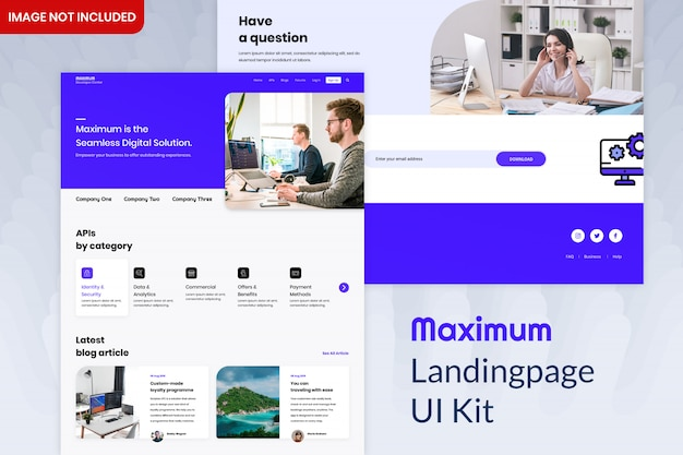 Kit máximo de interface do usuário da página de destino