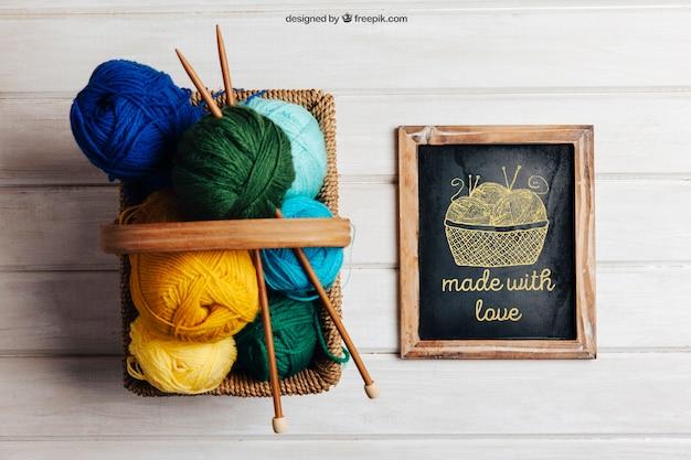 Lã em cesta e ardósia