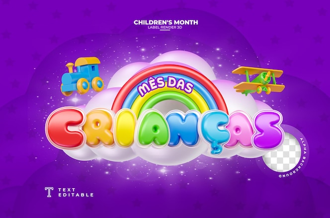 Label childrens month 3d render in brazil template design em português