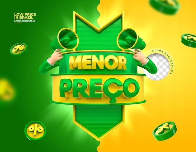 Label marketing no brasil baixo preço 3d render template design português