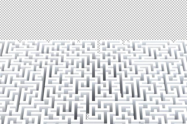 Labirinto branco abstrato com ilustração 3d de copyspace