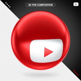 Lado 3d elipse vermelho youtube branco ícone