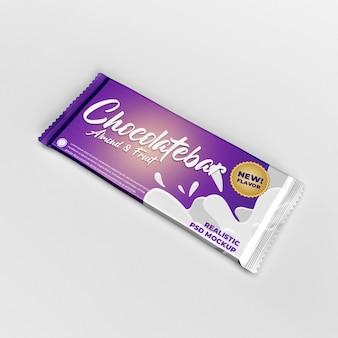 Lado de assentamento maquete de publicidade de embalagem de produto grande barra de chocolate trocada de folha fosca