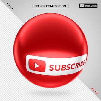 Lado vermelho 3d elipse youtube subscrever