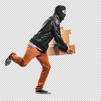 Ladrão segurando caixas