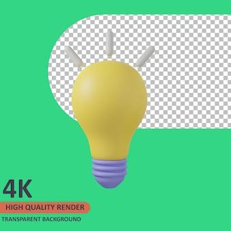 Lâmpada 3d educação ícone ilustração renderização de alta qualidade