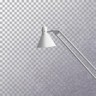 Lâmpada de mesa cinza moderna com vista lateral isolada