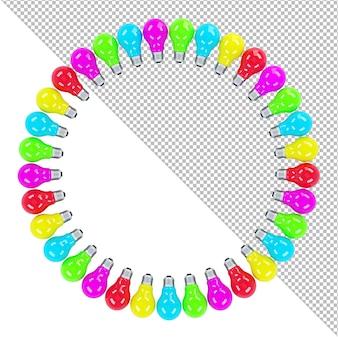 Lâmpadas coloridas formando uma ilustração 3d