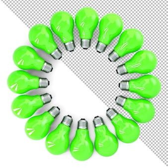 Lâmpadas verdes formando uma ilustração 3d