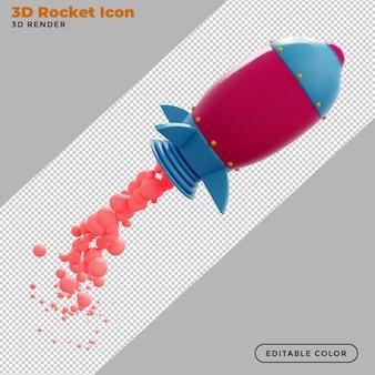 Lançamento de foguete de renderização 3d com fumaça