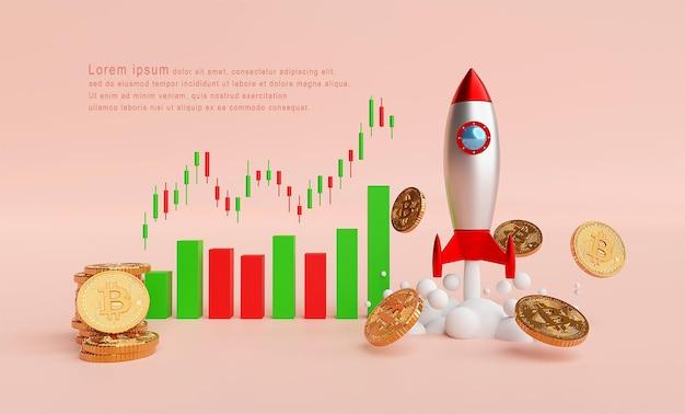 Lançamento de foguete e bitcoin btc com modelo de gráfico de velas