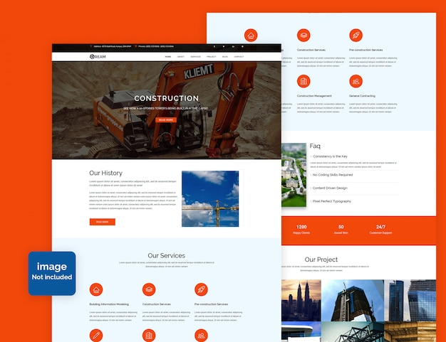 Landing page de construção psd