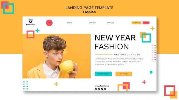 Landing page de moda com modelo masculino