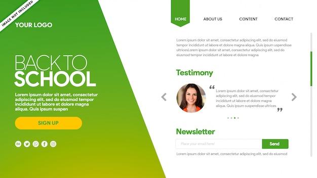 Landing page voltar para a escola green testimony