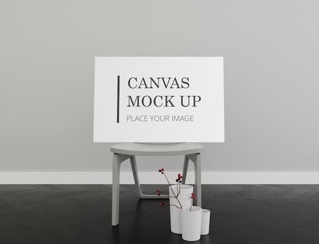 Lanscape frame canvas mock up com cadeira interior monocromático